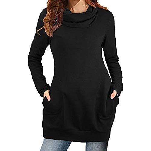 Damen Einfaches Kleider Basic Casual A-Linie Skaterkleid Freizeit FließEndes Kleid Langarm...