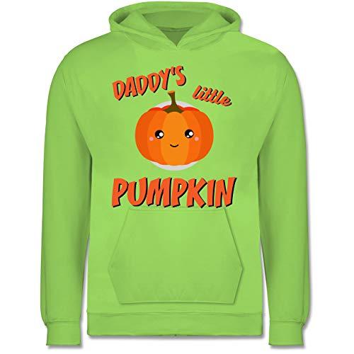 Shirtracer Anlässe Kinder - Daddys Little Pumpkin Halloween - 7-8 Jahre (128) - Limonengrün - JH001K - Kinder Hoodie