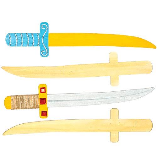 Holzschwerter für kleine Ninjas und Piraten zum Bemalen und Verzieren – Kreatives Bastelset für Kinder (4 ()