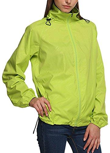 Salamaya Donna Super Leggero Giacca Impermeabili all'aperto con Cappuccio Quick Dry Windbreaker UV Cmpermeabile Proteggere la Pelle Coat Giacca Esterna Giacca da Pioggia Giacca Verde S
