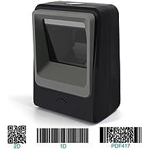 Escáner de código de barras 2D omnidireccional manos libres, lector de código de barras USB