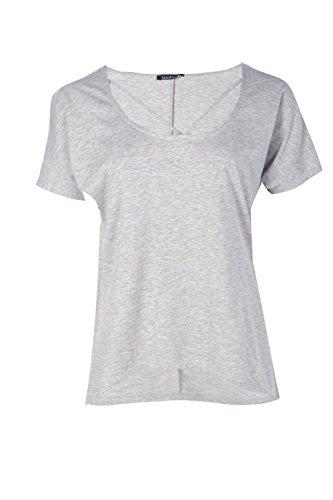 gris chiné Femmes Suzzie T-shirt En Jersey À Bretelles Au Col gris chiné