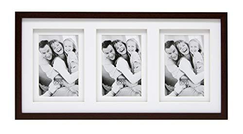Deknudt Frames S65KQ3 Bilderrahmen für 3 Fotos, doppeltes Passepartout, Holz, 10 x 15 cm, braun