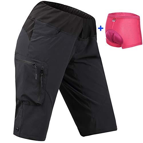 Cycorld Damen MTB Hose Bike Shorts, Radhose Damen kurz mit Polster, atmungsaktiv MTB Shorts Damen fahrradshorts für Radsport Hiking Outdoor(S/cm (Taille:68-78, Hüfte:86-91), Schwarz und Unterwäsche)