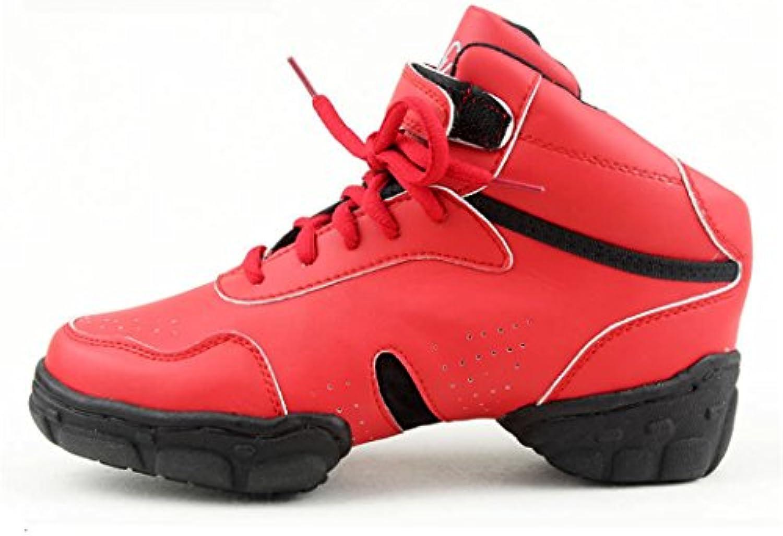 ZQ@QXModerne Fitness Schönheit Gymnastik schuhe Anstieg hoch atmungsaktiv abriebfest Rot big size Dance Schuhe