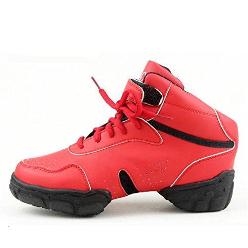 Zq @ Qx Modernes Chaussures De Sport De Remise En Forme Augmenter Haute, Respirant, Résistant À L'usure Rouge Chaussures De Danse De Grande Taille Gules