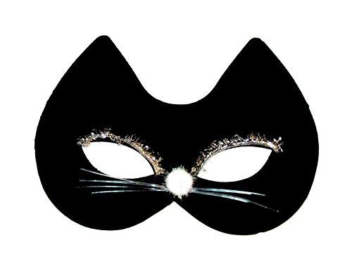 Damen Mädchen Schwarz Filz Cat Face Fancy Kleid Kostüm Maske-Schwarz (Kostüm Queen Beauty Kostüm)