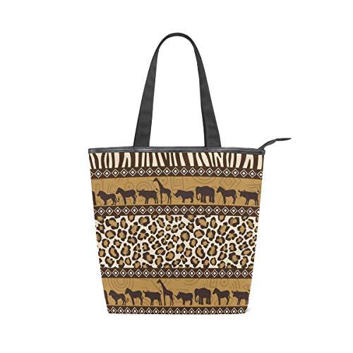 Jeansame Canvas-Handtasche für Damen, Shopper, Tragegriff, Schultertasche mit Reißverschluss, Camel Giraffe -