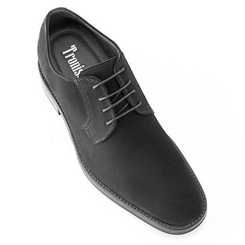 Masaltos Scarpe con Rialzo da Uomo Che Aumentano l'Altezza Fino a 7 cm. Fabbricate in Pelle. Modello Lawson Nero