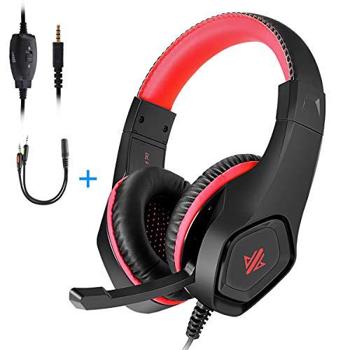 OKOMATCH Gaming-Headset, 3,5 mm Klinke, Over-Ear-Kopfhörer mit Stereo Surround-Sound, Rauschunterdrückung, Mikrofon für PC, PS4, Xbox, Tablet, Smartphones, tolles Geschenk für Kinder, Teenager rot rot