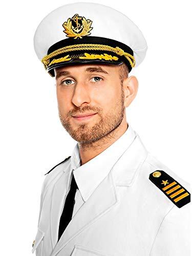 Maskworld Authentische Kapitänsmütze für Seefahrer - Verkleidung Kostüm-Accessoire Uniform für Karneval Fasching & Halloween - Größe - Marine Offizier Uniform Kostüm