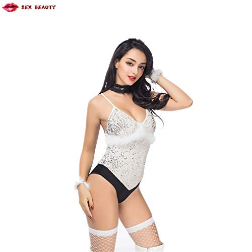 SEX BEAUTY Adult Sexy Unterwäsche Kostüm/Halloween Girl Cosplay Mit Pailletten Weiß Backless Body Für Frauen Club Wear Kostüm
