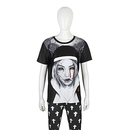 Frauen Halloween Pulloverfrauen Männer Halloween Jumpereuropean Und American Digital Print Shirt Weibliche Halloween Lose T-Shirt, Schwarz A, L 3D