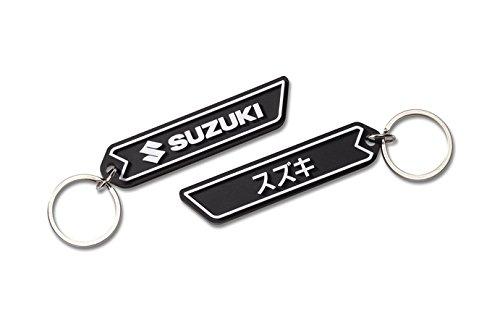 suzuki-team-pvc-keyring-keychain-gomma-nero-bianco