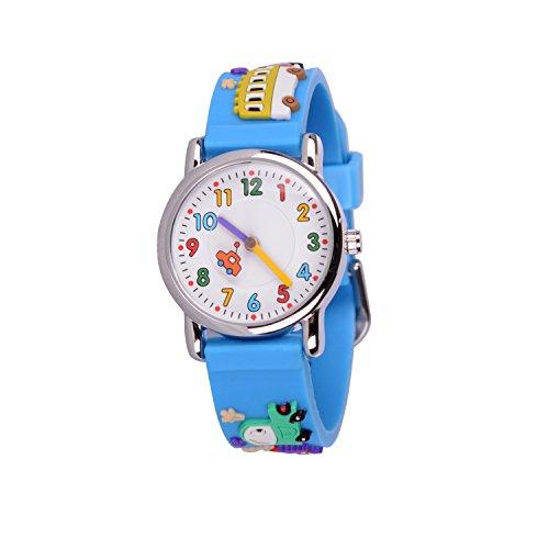 WOLFTEETH Kinder und Jugendliche Uhr Analog Quarz mit Silikon Armband 303604 Blauen Armband mit Auto MEHRWEG