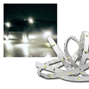 Ruban autocollant 3 m / 90 LEDs blanc froid avec alimentation et interrupteur