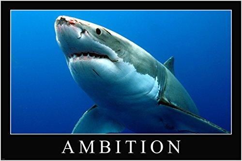 Great White Shark Ambition Motivational Poster 24x 36Persistence Ermächtigung (Motivational Poster 24x36)