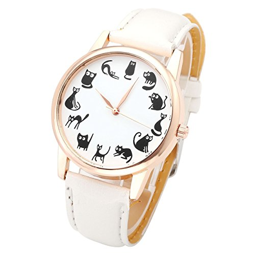 JSDDE Unisexe Montre Bracelet 12 Chats Drôle Graduation Quartz Boîtier Or Rose PU Cuir Blanc Cadeau pour Mère
