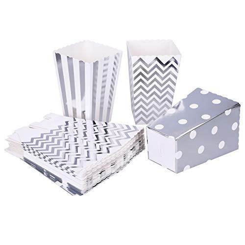 TankerStreet 24 Stück Popcorn-Boxen Karton Popcorn Tüte Papiertüten Klein Snack Candy Container Streifen Wellen Punkt Muster Taschen für Kind Party Hochzeit Geburtstag Geschenke Dekoration Silber