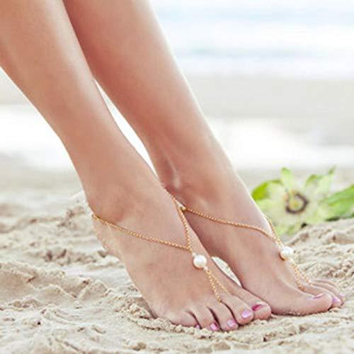 FeiyUan Damen-Fußkettchen mit Perle, für den Sommer, Strand, einfache Schönheit, übertriebene Perlen, fingerlos, für Damen und Mädchen (kein Golden) -