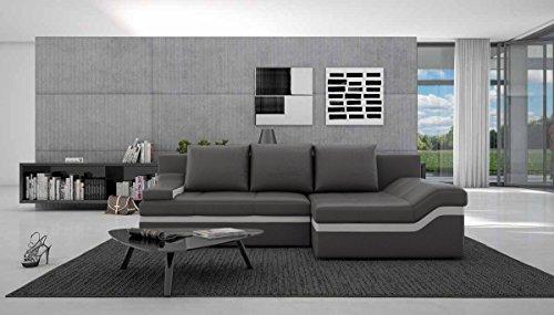 SalesFever Polster-Ecke mit Schlaffunktion grau/weiß 235x133 cm L-Form | Nodobi-L | Sofa-Garnitur aus Kunstleder mit Recamiere rechts | Eck-Couch ausziehbar für Wohnzimmer grau/Weiss 235 x 133cm -