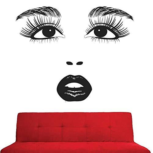 zqyjhkou Wandtattoo Beauty Salon Mädchen Gesicht Wandaufkleber Abnehmbare Vinyl Augen Lippen Kosmetiktapete Beauty Salon Wanddekoration Ay969 57x46cm