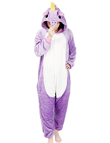 Kigurumi Pyjama Licorne Adulte Unisexe Ensemble de Pyjama Animaux Cosplay Costume Combinaison Soirée de Déguisement (M, Violet)