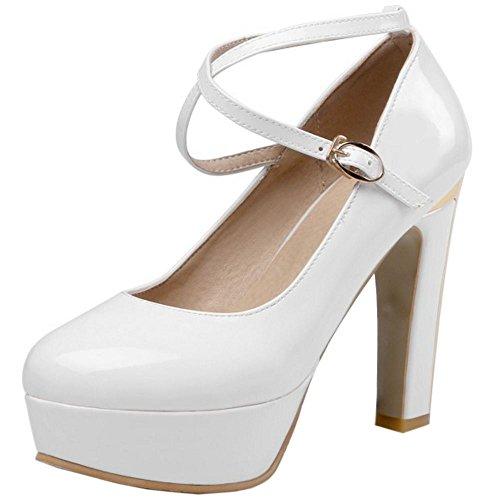 23c412b7bb1690 TAOFFEN Damen Blockabsatz High Heels Plateau Pumps Cross Criss Schuhe Party  Shoes Weiß