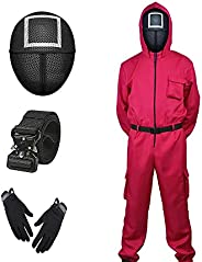 Squid Game Cosplay Costume Soldier Mask Squid Game Suit Jumpsuit for Halloween Circle 2021/4-Piece+ Gloves + B