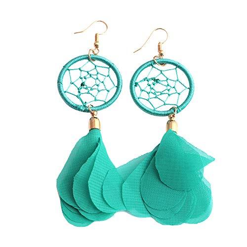 Andouy Hot Bohemia Tuch Lange Design Dream Catcher Ohrringe für Frauen Schmuck(Grün)