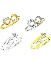 "Vidhi Jewels Gold & Silver Plated ""MOM"" Finger Ring Set Alloy & Brass For Women & Girls [VCOMBO283RG]"