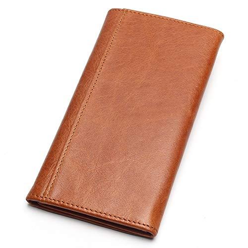 HEIMIAOMIAO Herrenbrieftasche Herren Geldbörse Echtes Leder Geldbörse Herren Lange Geldbörse VintageGeldscheinklammer Brieftasche mit hoher Kapazität von Luggage & Bags, Braun - Herren Echte Stingray