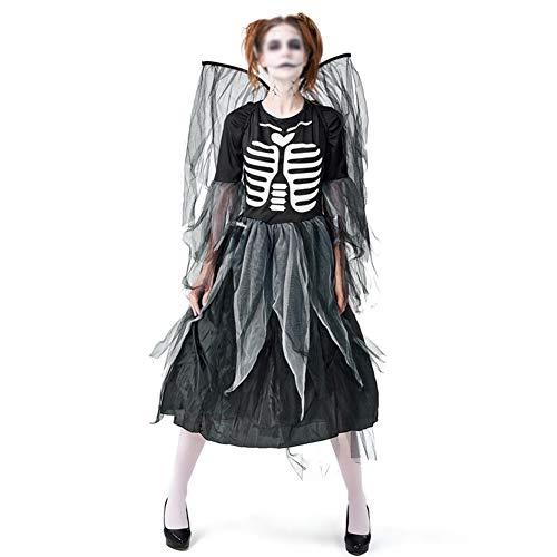 FKLMRKL Kleid Mit Rippendruck, Kleid Mit Dunklem Engelskleid, Netzkleid + Netzflügel, Halloween-Karnevalskostüm,M (Twister Kostüm Halloween)