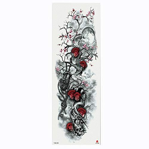Manicotto del tatuaggio per trasferimento di cadute temporanee per body art con rose e fiori, confezione da 4,17×48cm