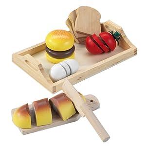 Happy People 45006  - Tabla de cortar comida de madera con alimentos de juguete Importado de Alemania