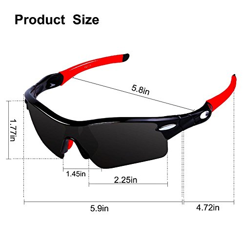 Hommes et femmes polarisant lunettes de soleil anti-UV lunettes de sport Outdoor lunettes de vélo pour l'escalade et l'équitation , black