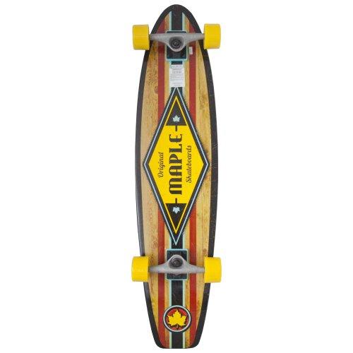 Maple - Tavola longboard completa, 36'' x 8,625'', colore: Nero/Giallo/Legno