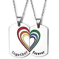 """Vnox - Doppio ciondolo per collana, con cuore e arcobaleno puzzle, in acciaio inox, motivo """"Gay e Lesbian Pride"""", 50 cm, senza catenina"""
