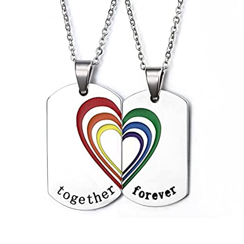 Vnox Stainless Steel Rainbow Puzzle Heart Pendant Necklace for Gay & Lesbian Pride,Free Chain 20