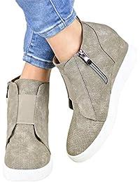 Botines Mujer Cuña Planos Invierno Planas Botas Tacon Casual Zapatos para  Dama Plataforma 5cm Elegante Zapatillas c45a47fa2c6