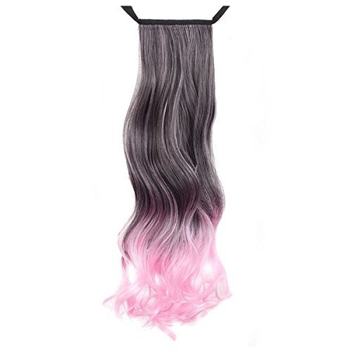 SODIAL(R)Recycled Quality Charming Fashion Curly Ponytail Hair Extensions Black + Pink