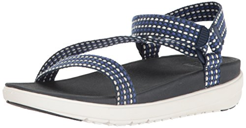 Sandales Z-sangle FitFlop Blanche Armure / Sportif Bleu Armure Blanche / Sportif Bleu