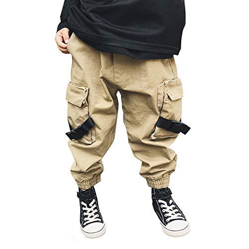 De feuilles Kinder Cargo Hosen Lang Jogginghosen mit Taschen Elastischer Bund Jungen Casual Freizeithosen