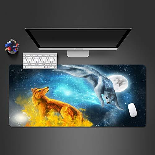 Moonlight Fire Wolf und Ice Wolf Mauspad Hochwertiges, abwaschbares, lichtechtes Gamepad Computer- Tastatur-Mauspad 800x300x2