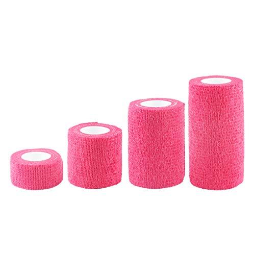 Andux Zone Selbstklebende Bandage 4 Rollen Cohesive Wrap-Verband ZZTXBD-04 (Fluoreszierende Pink)