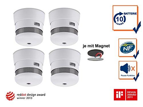4er Set 2002-023 Cavius Mini-Design 10-Jahres Rauchmelder inkl. Magnethalter, 2002-023Set-4