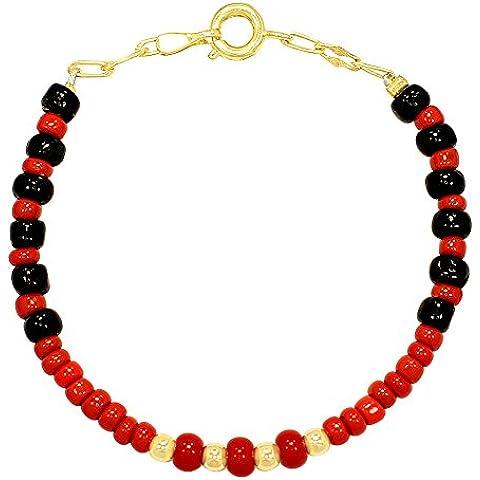 Placcato oro 14K per bambini braccialetto rosso protezione buona fortuna Evil Eye 5