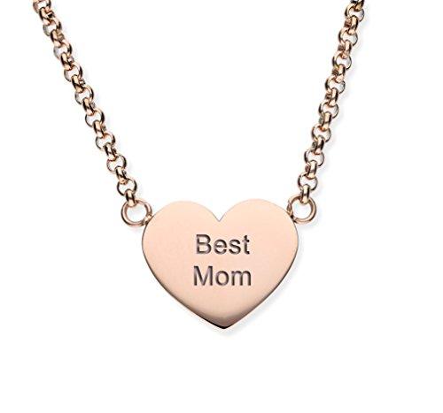 """URBANHELDEN - Damen Kette Herzkette""""Best Mom"""" - Halskette Edelstahl Geschenkidee - Schmuck Gravur - Best Mom Rosegold"""