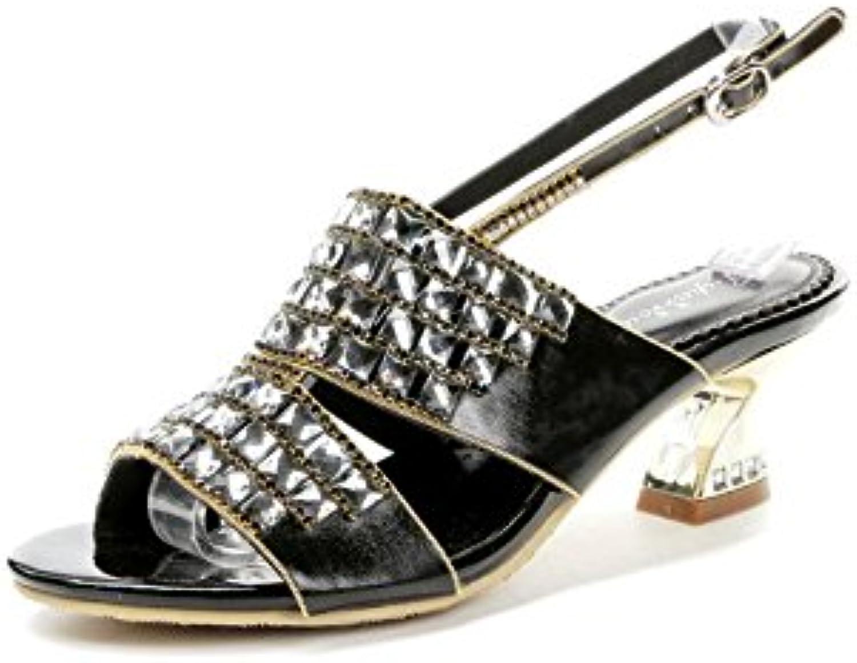 Femmes chaussures PU gros été automne confort nouveauté sandales chunky gros PU talon ouvert orteil cristal scintillant...B07CNVQYQSParent c6320d