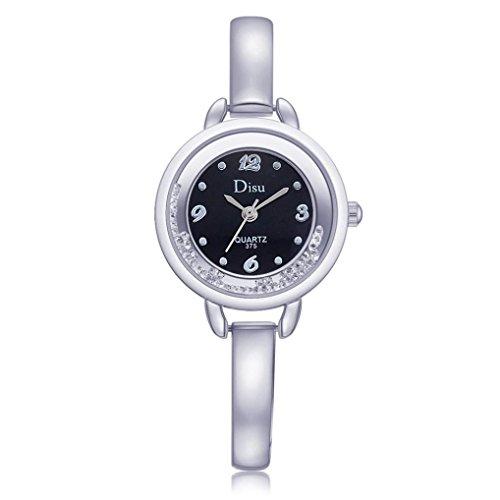 ELLIN Rose Gold überzogene Frauen Elegante Strass Armband Quarzuhr Mode Damen Kleid Uhren (A Silber) ()